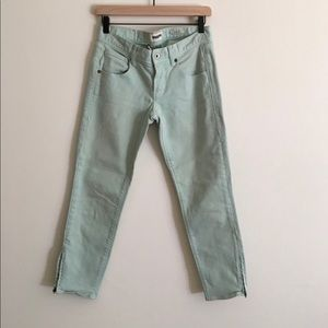 Madewell light green skinny jeans w ankle zippers